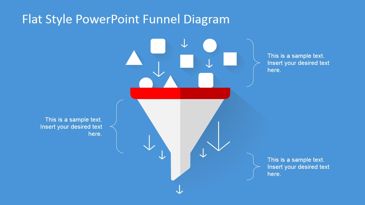 Flat Design Funnel Diagram For Powerpoint