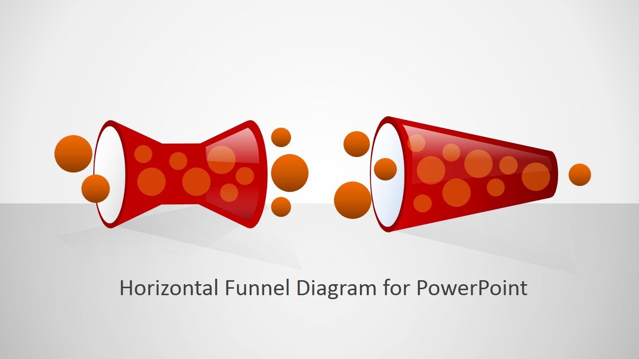 PowerPoint Diagram of Horizontal Flat Design Funnels