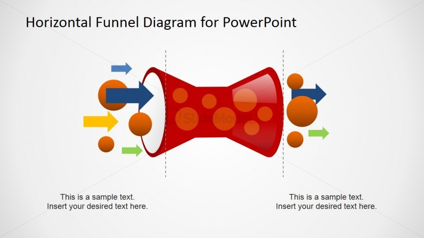 PowerPoint Horizontal Funnel Diagram with Flow