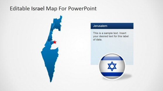 Map of Israel Political Outline with Capital Marker