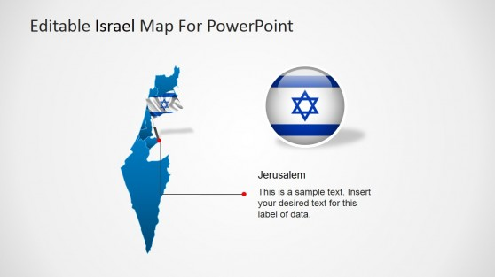 Map of Israel Outline with National Flag