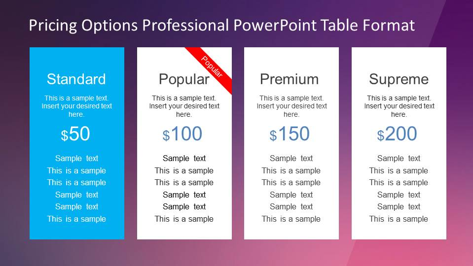 Four flat design pricing options PowerPoint Table