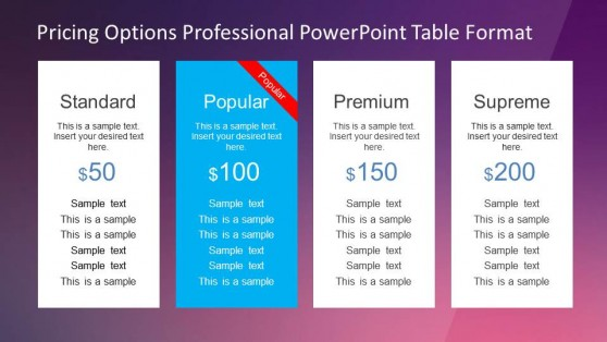Professional Pricing Options Table with Four Products for PowerPoint