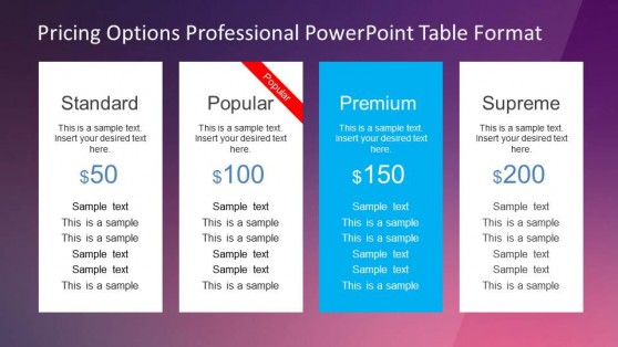 Professional Pricing Options Template for PowerPoint