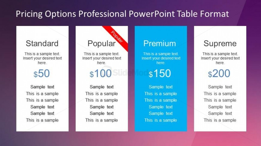 Four columns PowerPoint Table with Pricing Options