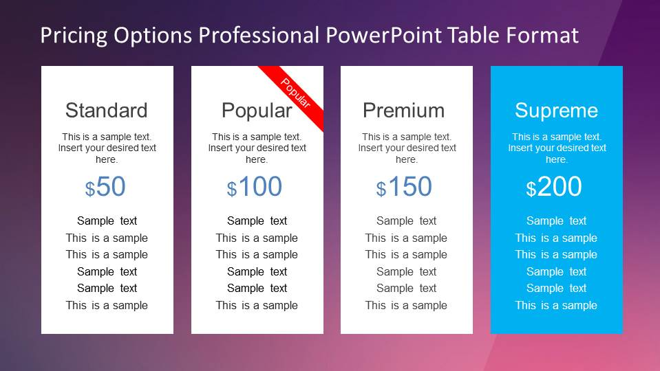 Four Product Pricing Options Table Powerpoint Template  Slidemodel