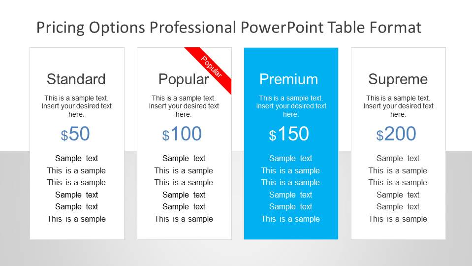 Web Style Pricing Options Table for PowerPoint