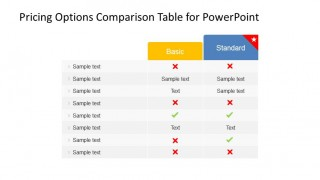 PowerPoint Table Product Features Comparison for two plans