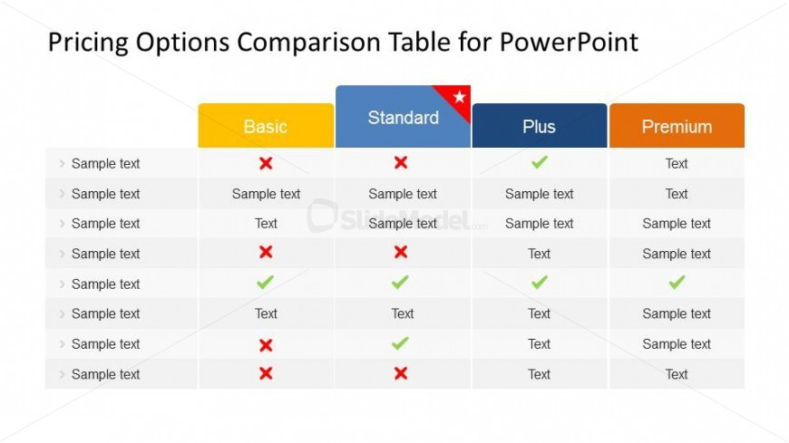 Four Different Pricing Plans Comparison Table
