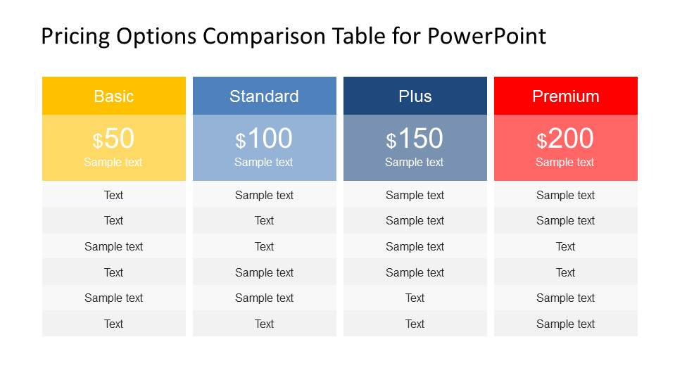 Pricing options comparison table for powerpoint slidemodel for Pricing table design