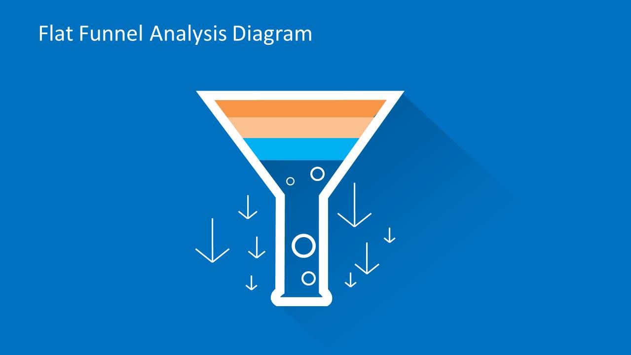 Flat Funnel Diagram Template for PowerPoint with 3 Levels & Arrows