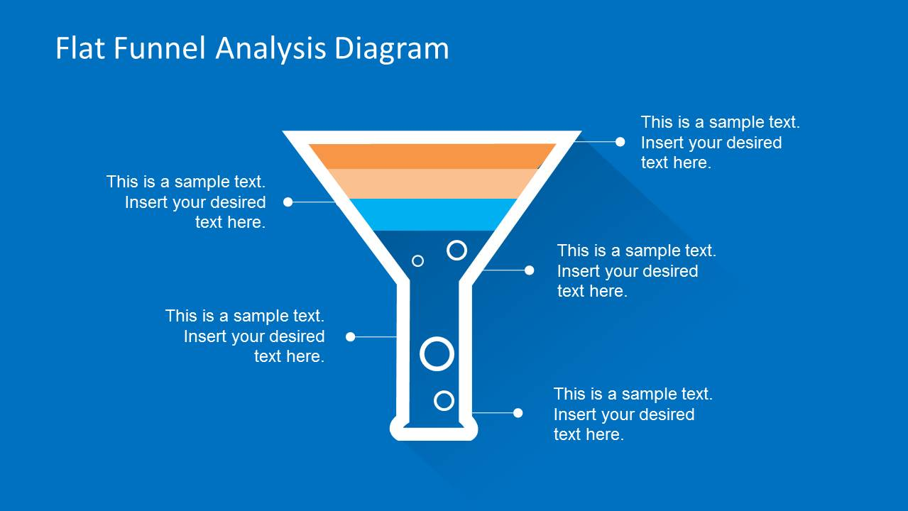 Flat Funnel Analysis Diagram Template For Powerpoint