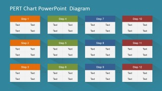 PowerPoint PERT Diagram Twelve Nodes