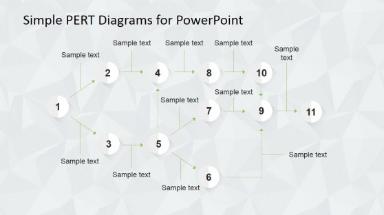 Amazing PERT Chart For PowerPoint with Grey Scale Items