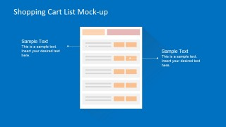 Flat Shopping Cart List Wireframe Mock-Up for Ecommerce Site