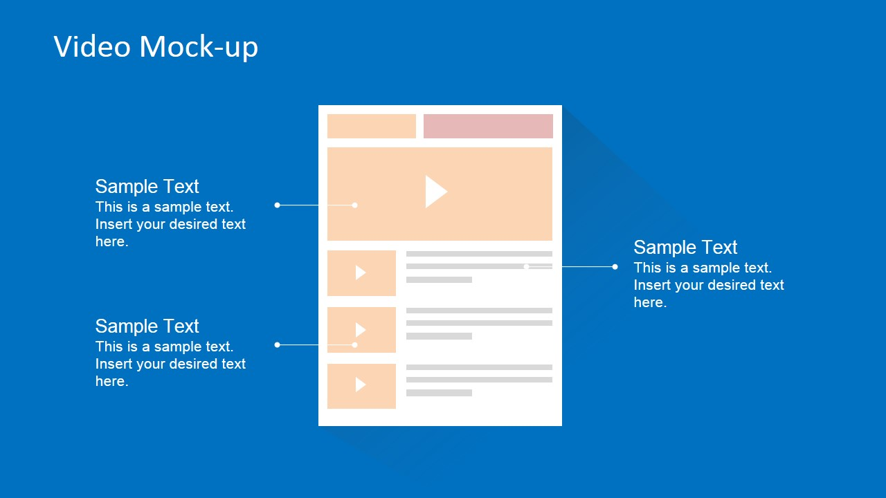 Flat Wireframe of Video Player Page for PowerPoint
