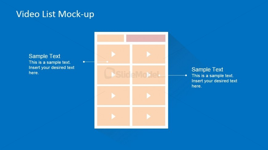 Flat Blueprint Template of Video Page Mock-up