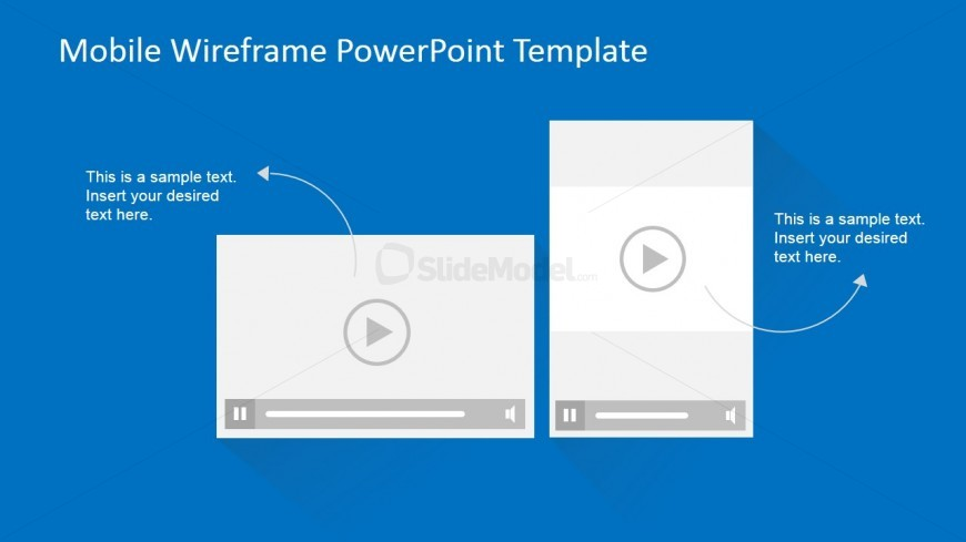 PowerPoint Mockup of Mobile Video Playing Landscape and Portrait