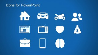 PowerPoint Icons Slide Design Blue Background