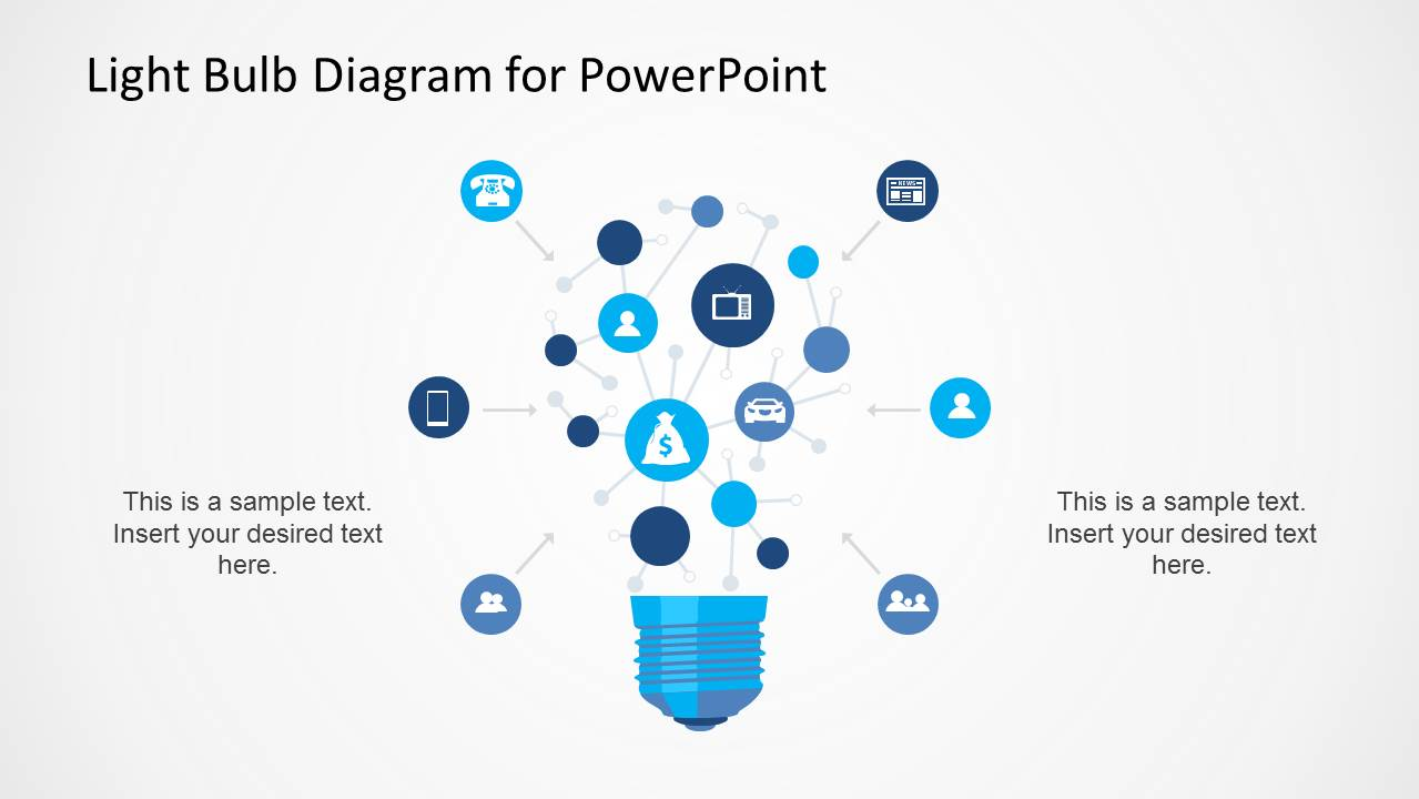 Light Bulb Network Diagram for PowerPoint