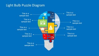 Light Bulb Puzzle Diagram design for PowerPoint with Puzzle Pieces & Icons