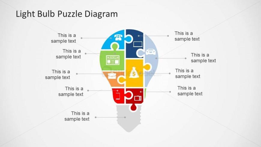 Puzzle Diagram Slide Design with Light Bulb