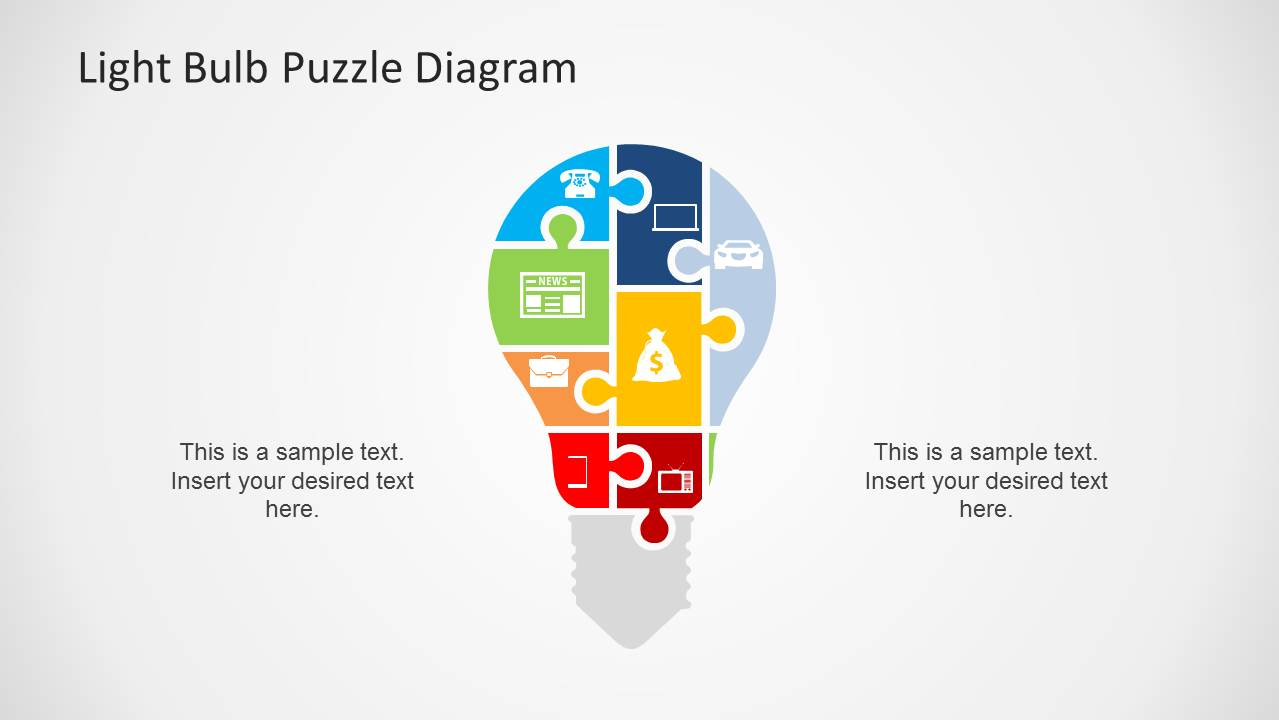 Light Bulb Puzzle Diagram Template for PowerPoint - SlideModel