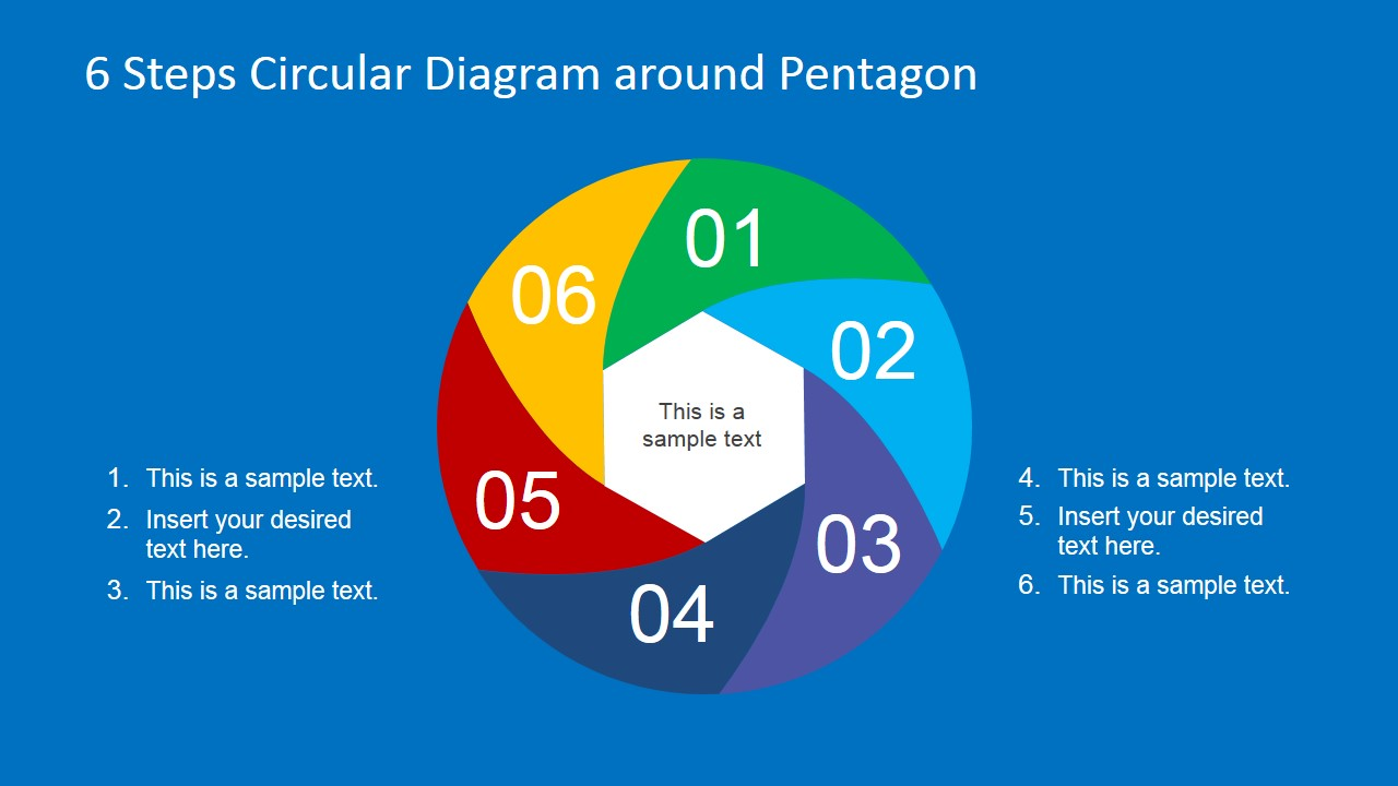 Six Step Color Coded Pentagon Plan Clipart