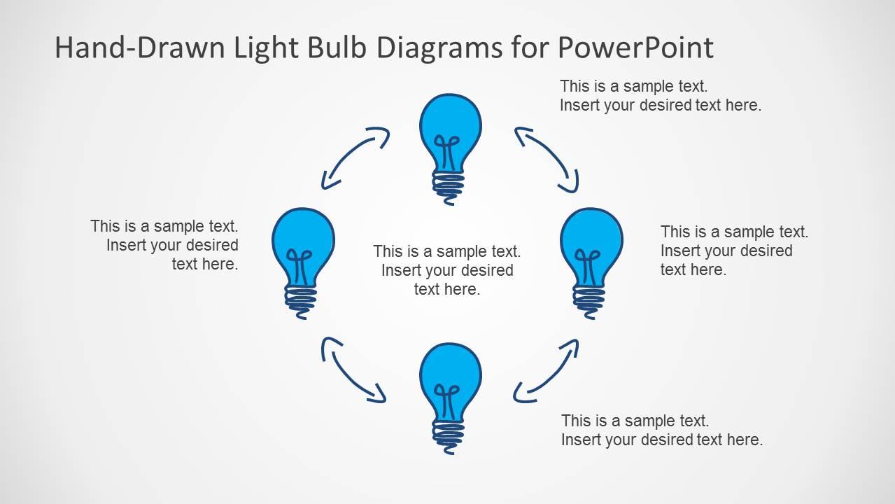 Hand Drawn Light Bulb Template For Powerpoint Slidemodel Incandescent Diagram