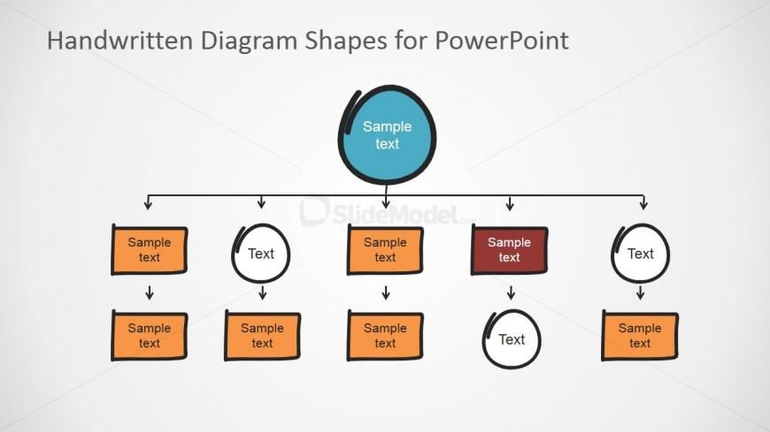 Flat bold handwritten orgchart elements slidemodel powerpoint flat bold hierarchy handwritten elements ccuart Gallery