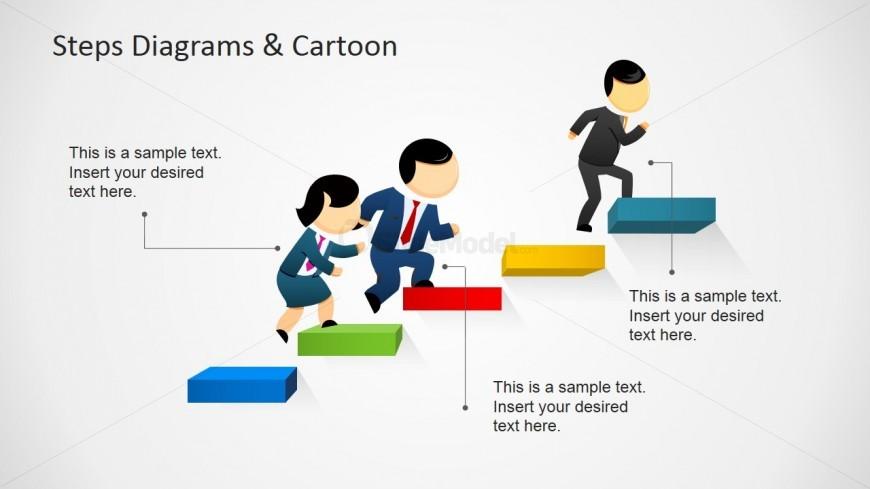 Steps Diagram & Cartoon Ladder Slide Design