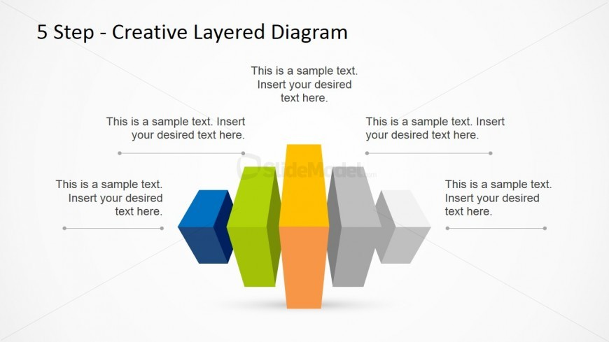 Horizontal 5 Step Creative Layered Diagram