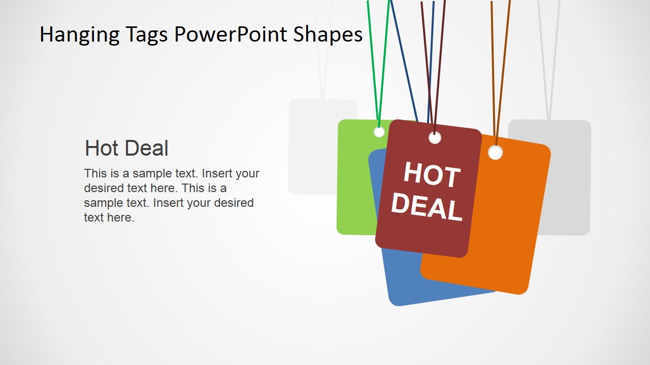 hanging tags powerpoint shapes  slidemodel, Powerpoint