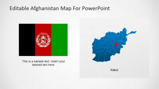 Afghanistan National Flag with Map and Capital