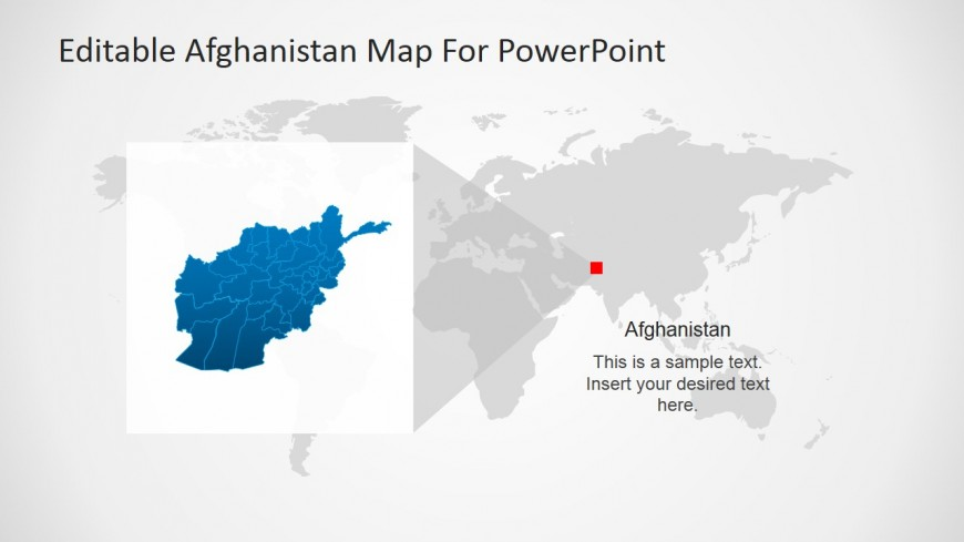 Afghanistan located within worldmap and magnified slidemodel powerpoint world map with afghanistan highligthed gumiabroncs Image collections
