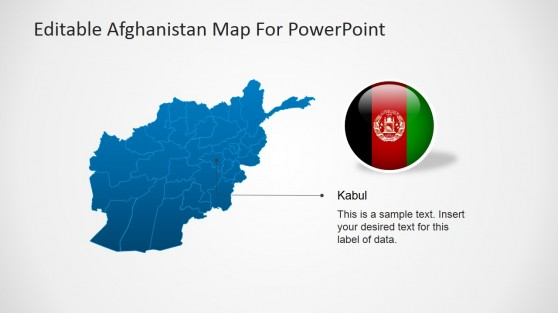 Afghanistan Outline Map with Capital Kabul Marker