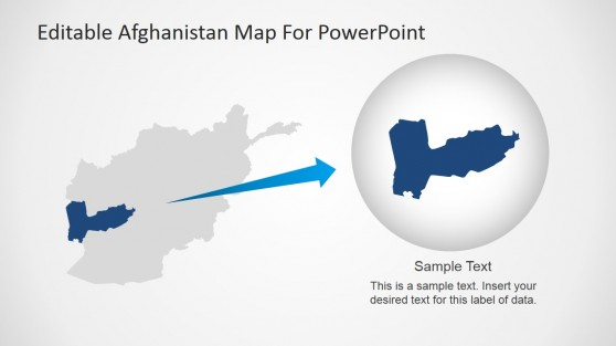 Afghanistan Map Stencil with State Highlighted