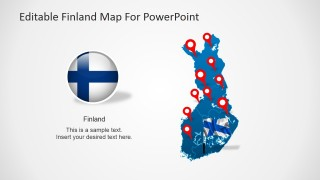 Finland Map & Flag for PowerPoint