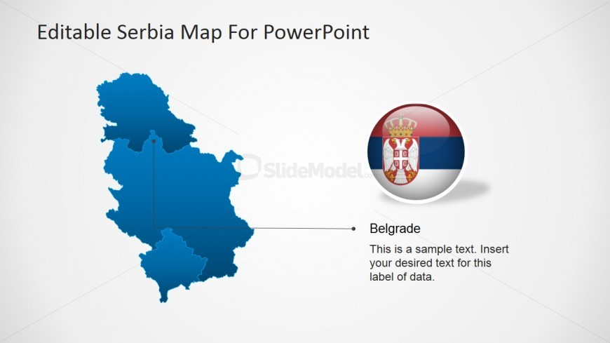 Flat Serbian Map with Belgrade GPS Location