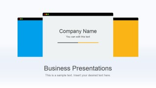 Flat Business Cover Slide Design for PowerPoint with 3 Browser Shapes in the Slide