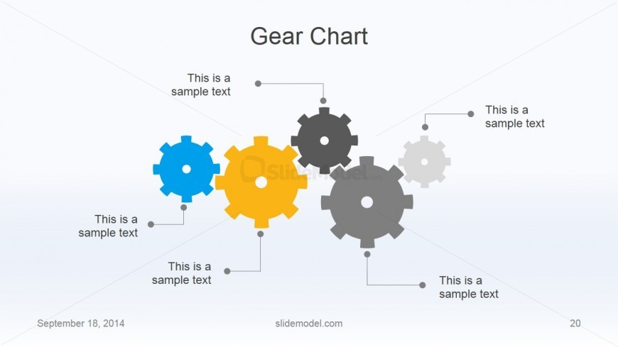 Flat Business Slide with 4 Gear Shapes & Simple Process Flow