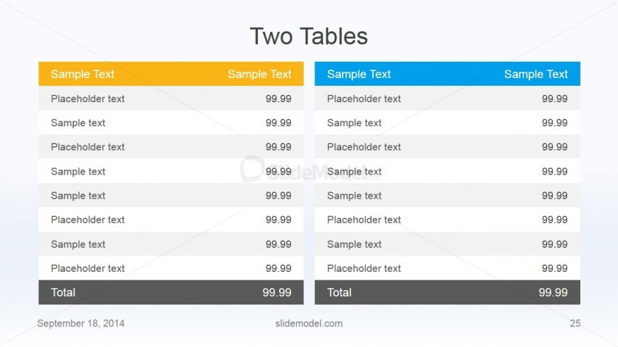 Flat Business 2 Tables Same Slide