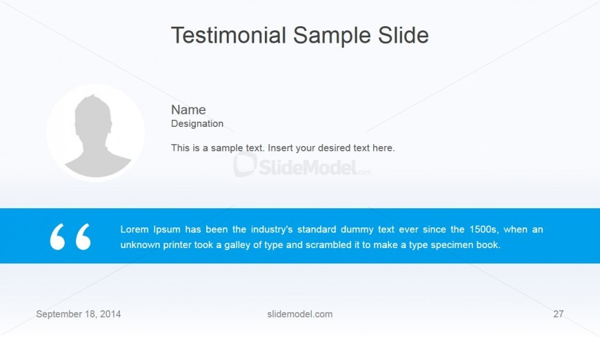 Flat Business Testimonial Slide Design