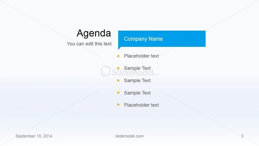 Flat Business Template Agenda Slide Design