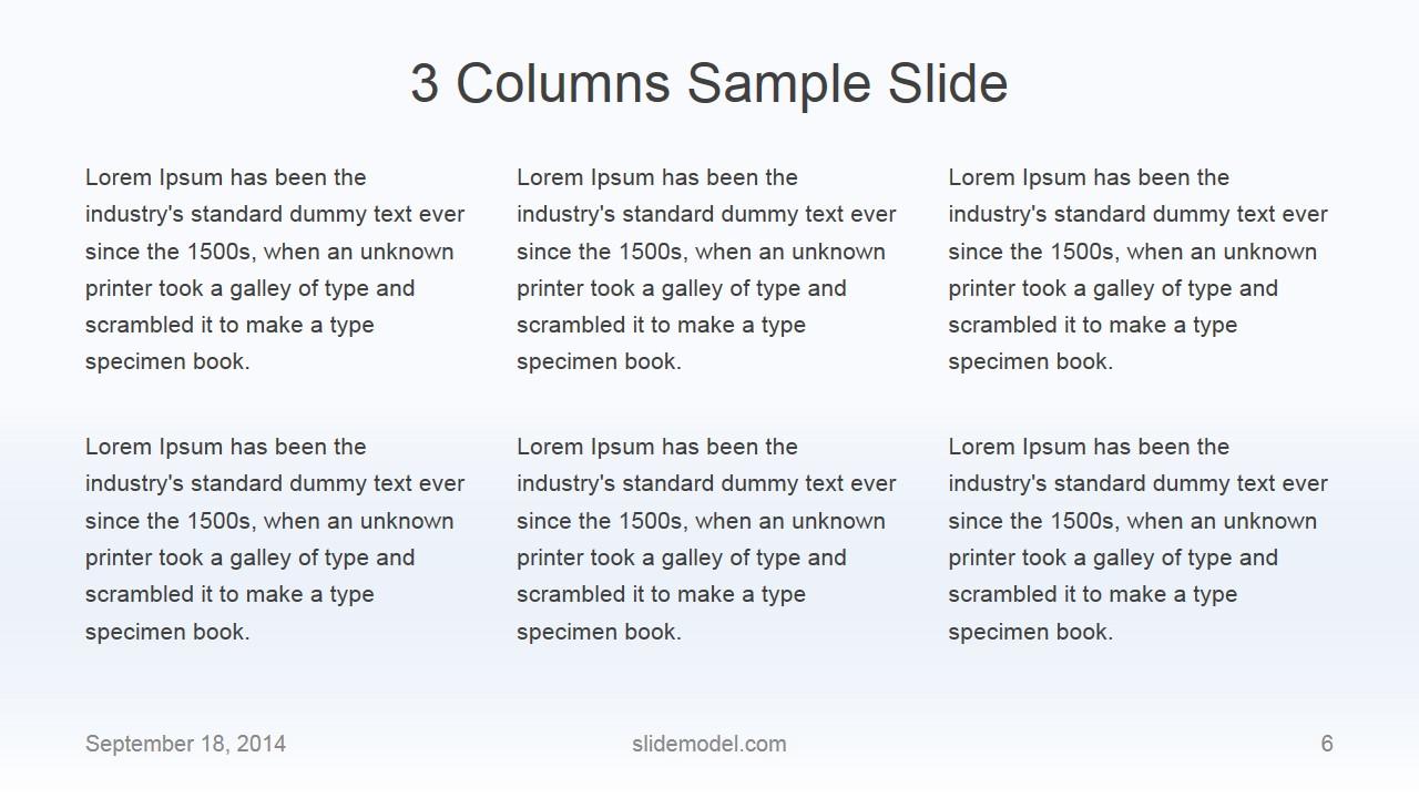 Flat Business 3 Columns Slide Design