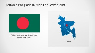 PowerPoint Bangladesh Map with Flag and Capital City Marker