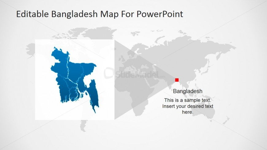 Bangladesh highlight in south east asia map slidemodel powerpoint world map with bangladesh highlight gumiabroncs Choice Image