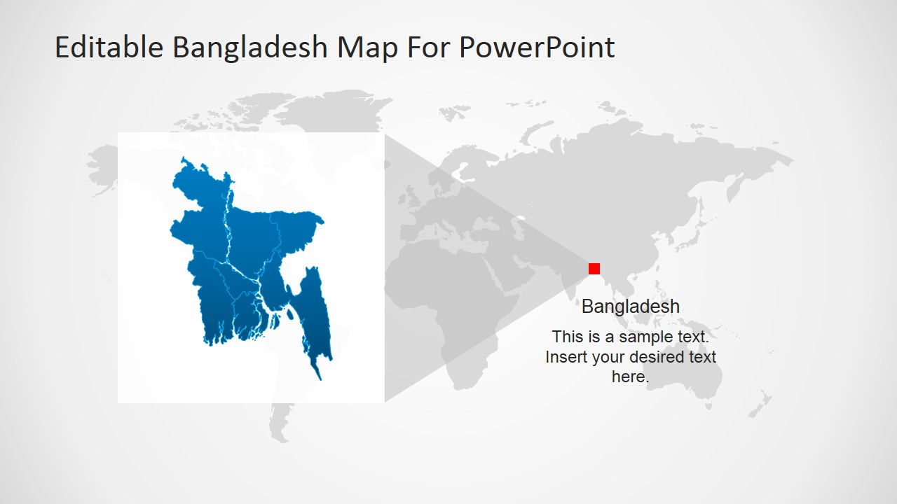Editable bangladesh powerpoint map slidemodel powerpoint world map with bangladesh highlight gumiabroncs Gallery