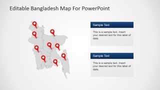 PowerPoint Map of Bangladesh with Grey Background