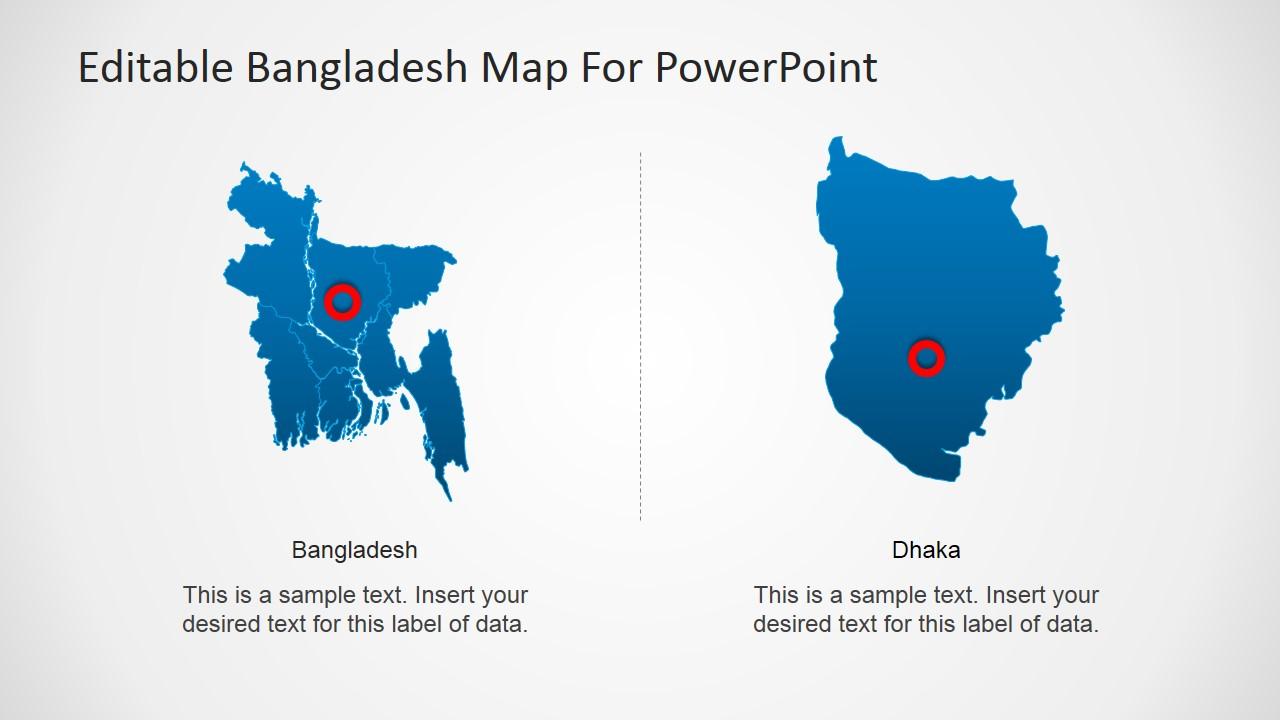 Editable bangladesh powerpoint map slidemodel powerpoint map of bangladesh with dhaka highlighted gumiabroncs Image collections